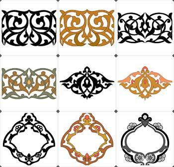 زخارف اسلامية ملونة فكتور مجموعة 1 Vector همس المشاعر للتصميم والتطوير